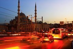 Yeni Mosque Night. Yeni Mosque in Istanbul with traffic. Long exposure with movement Stock Images