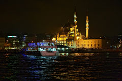 Yeni Mosque and ship at pier Eminonu in Istanbul Royalty Free Stock Photography