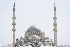 Yeni Mosque in snowfall Stock Photography