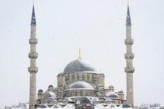 Yeni Mosque in snowfall. Eminonu Yeni Mosque in Istanbul, Turkey Stock Photography