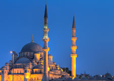 Yeni Valide Camii during the blue hour. Istanbul, Turkey Stock Images