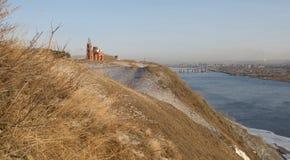 Yenisei River in autumn. Church over the Yenisei River in autumn Stock Image