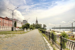 Yenisei river embankment Royalty Free Stock Photography