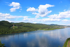 Yenisei River and its shores Royalty Free Stock Images
