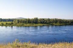 Yenisei river, Krasnoyarsk Krai, Russia. stock photo