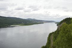 View of the Yenisei from a bird`s-eye view. stock photos