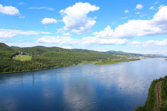 The yenisei river. Yenisei River, the view from the observation deck near Krasnoyarsk Stock Images
