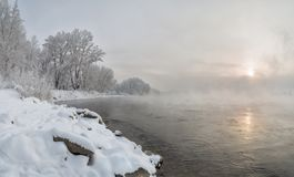 Morning on the bank of the Yenisei River. The Yenisei River in winter. Snow-covered shore. Trees covered with hoarfrost. Steam over the Yenisei. Siberia Stock Image