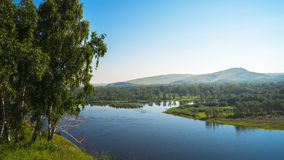 Yenisey. River on one of the hills on the banks of the river. Republic Of Khakassia. Siberia Royalty Free Stock Photo
