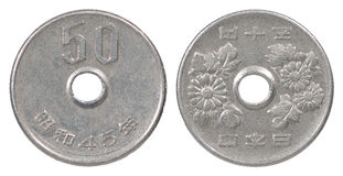 50 Yenmuntstuk Royalty-vrije Stock Foto's