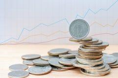 Yenmuntstuk op andere muntstukkenstapel met het kweken van grafiek Stock Afbeeldingen