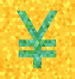 Yens de vert de vecteur de triangle/symbole de yuans sur le contexte jaune illustration libre de droits