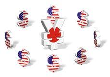 Yens entourés par Dollars Illustration de Vecteur