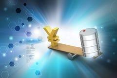 Yens et l'huile peuvent équilibrant Image libre de droits