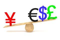Yens forts : devises sur une bascule en bois Image stock