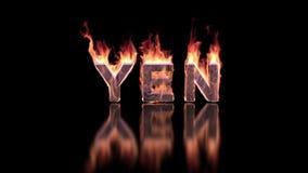 Yenwoord het branden in vlammen op de glanzende oppervlakte, financiële 3D achtergrond stock videobeelden