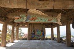 YEONGJU, ΚΟΡΕΑ - 15 ΟΚΤΩΒΡΊΟΥ 2014: τα ψάρια διαμόρφωσαν το ξύλινο blo ναών Στοκ Φωτογραφία