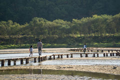YEONGJU, KOREA - OCTOBER 15, 2014:  people on a single lane brid Stock Photos