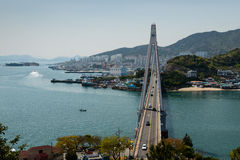 Yeosu harbor and Dolsan bridge Stock Photos