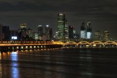 Yeouido and hangang bridge at night Stock Photo