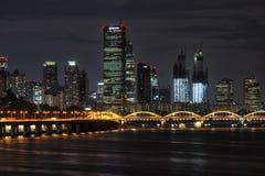 Yeouido and hangang bridge at night Stock Photography