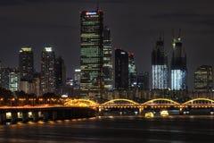 Yeouido and hangang bridge at night Royalty Free Stock Images
