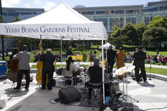 Yerba Buena Gardens Festival. San Francisco, August 28: Howard Wiley and The Angola Project perform at the Yerba Buena Gardens Festival, August 28, 2010, San stock photo