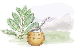 Yerba Mate and Calabash. Watercolor style. Royalty Free Stock Images