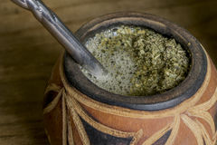 Yerba Mate in carved gourd Stock Photo