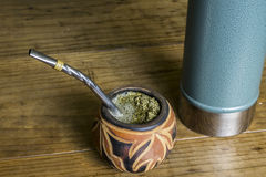 Yerba Mate in carved gourd Royalty Free Stock Images