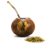 Yerba mate cup and straw Royalty Free Stock Photo