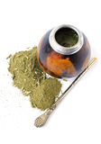 Yerba mate cup and straw. Calabash with bombilla isolated on white background Stock Image