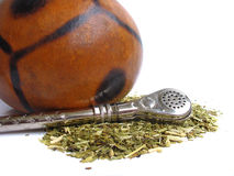 Yerba mate cup and straw Stock Photo