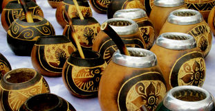 Yerba mate cups. Yerba mate colorful wooden cups sold in Argentina stock image