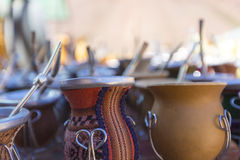 Yerba mate cups sold in the market in Puente del Inca Stock Images