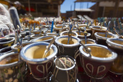 Yerba mate cups sold in the market in Puente del Inca Royalty Free Stock Photography