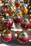 Yerba mate cups. Sold in the market in San Telmo, Buenos Aires, Argentina stock photography