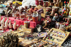 Yerba mate cups and souvenirs at South American market Stock Images