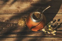 Yerba mate drink on natural background royalty free stock photo