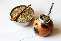 Yerba mate drink. Traditional yerba mate herb drink royalty free stock photography