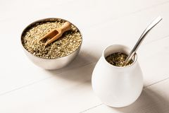 Yerba mate drink. Traditional yerba mate drink on wooden table stock photo