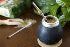 Yerba mate gourd and a bombilla. Stock Photography