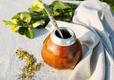 Yerba mate in gourd calabash with bombilla Stock Photos