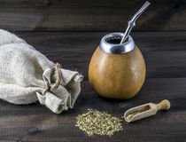Yerba mate with gourd matero Royalty Free Stock Images