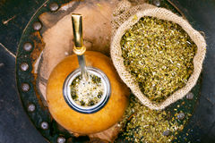 Yerba Mate In A Traditional Gourd And Bag Of Dry Herb Stock Photos