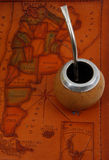 Yerba mate on map Royalty Free Stock Photos