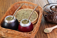 Yerba mate and mate in calabash on a wicker tray Royalty Free Stock Images