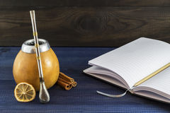Yerba mate with notepad stock image