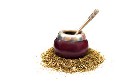 Yerba Mate tea. Calabash and bombilla with yerba mate isolated on white Royalty Free Stock Image