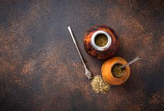 Yerba mate tea with calabash and bombilla. Traditional Argentinian drink Royalty Free Stock Image